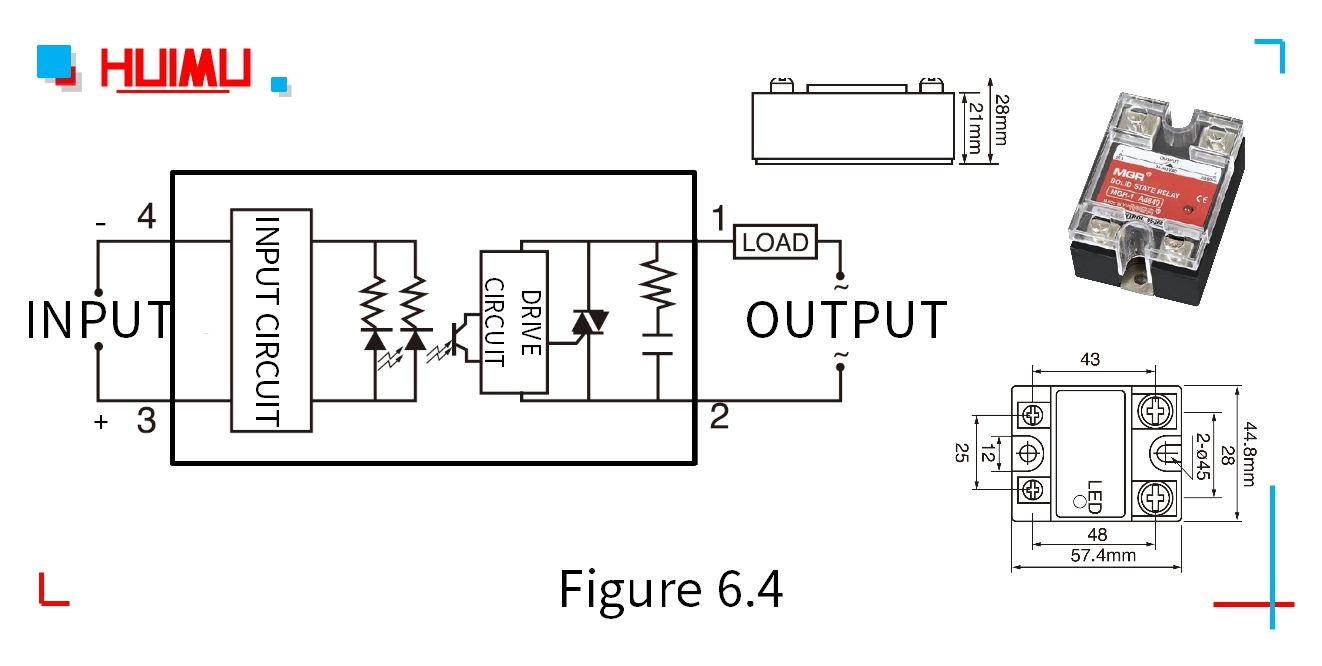 Circuit diagram, dimensions, and drawing of the zero-crossing AC solid state relays