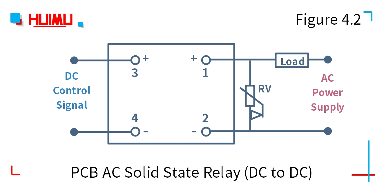 PCB DC solid state relay (DC to DC) wiring diagram and circuit diagram Type 2