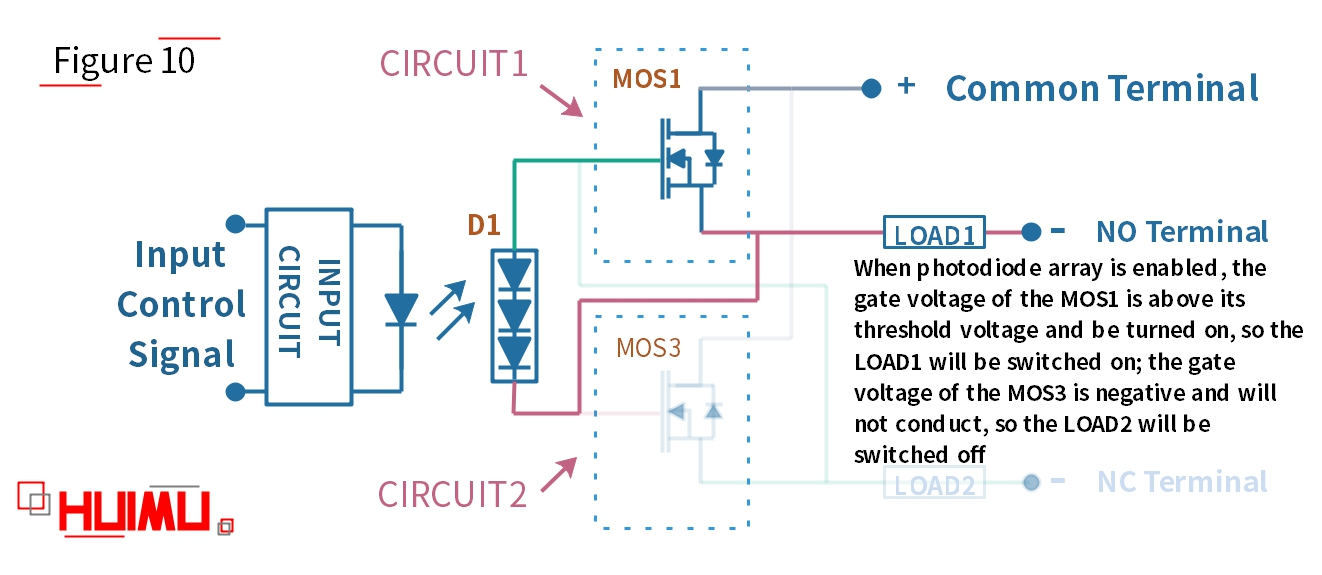 photodiode-array SPDT solid state relay circuit diagram, when the switch is turned on at DC power supply