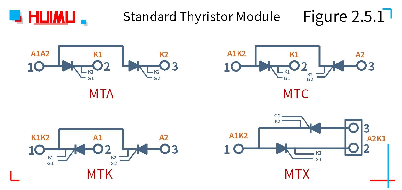Wiring diagram of standard diode thyristor module