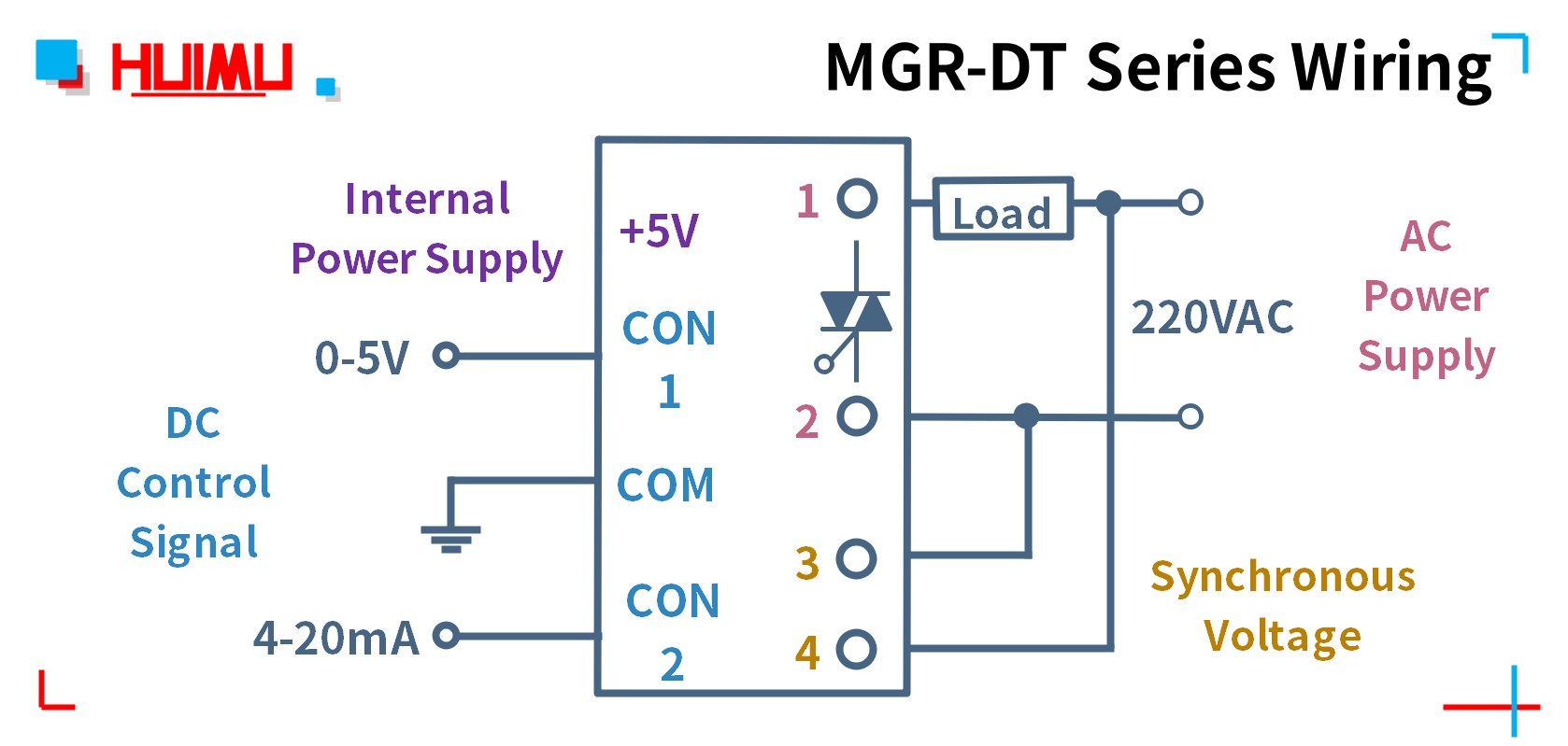 The circuit wiring diagram of MGR-DT series regulation module.